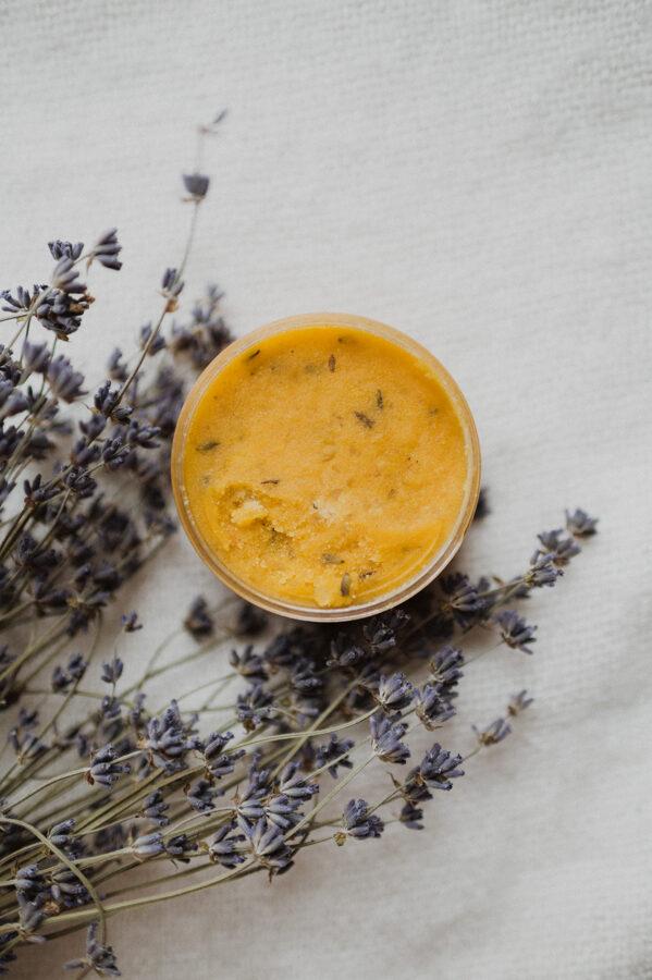 Orange- lavender body scrub